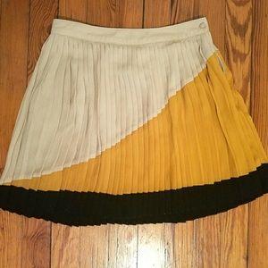 Pleated Color Block Skirt, Flouncy